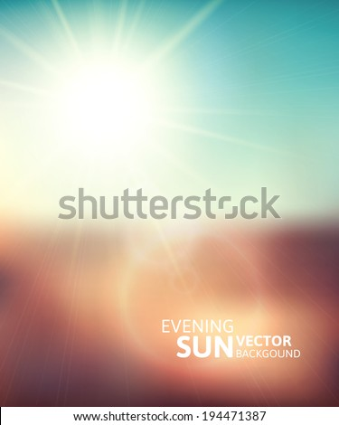 Blurry evening scene with brown field, sun burst, blue and green blur sky, vector illustration - stock vector