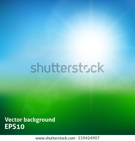 Blurry green field and blue sky with summer sun burst. Vector illustration - stock vector