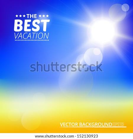 Blurry yellow beach and blue sky with summer sun burst. Vector illustration. - stock vector