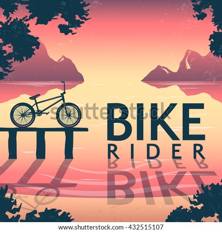 BMX bike riding poster with bicycle on pedestal and inscription over mountain lake at sunset vector illustration   - stock vector
