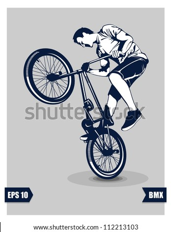 BMX cyclist performing stunt, EPS 10.vector - stock vector