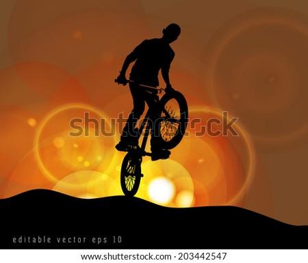 BMX cyclist performing stunt, EPS 10.vector  - stock vector