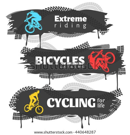 BMX horizontal banners set with colorful extreme riders cycling traces  inscriptions on black background isolated vector illustration  - stock vector