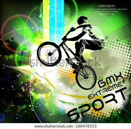 BMX rider. Vector design. - stock vector