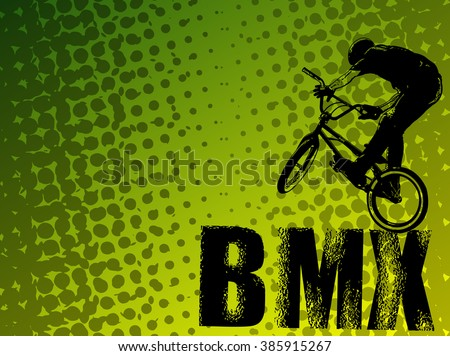 bmx stunt cyclist on the abstract background - vector - stock vector