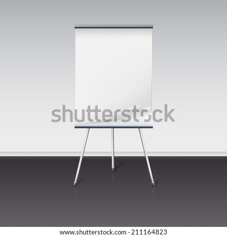 Board for presentations with a clean sheet of paper stand about wall - stock vector