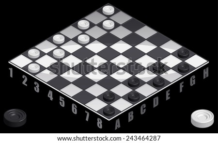 Board game checkers Isometric  view, Draughts on playing field, illustration vector - stock vector