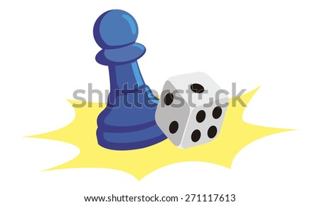 Board game piece and one dice - stock vector