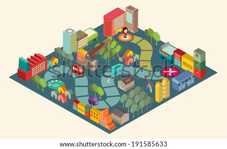 Board game  with city building  and people over path.Vector illustrator - stock vector