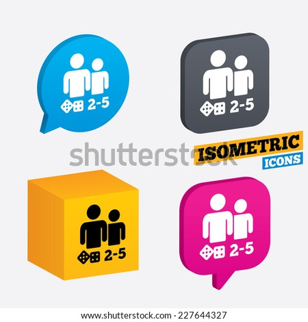 Board games sign icon. From two to five players symbol. Dice sign. Isometric speech bubbles and cube. Rotated icons with edges. Vector - stock vector