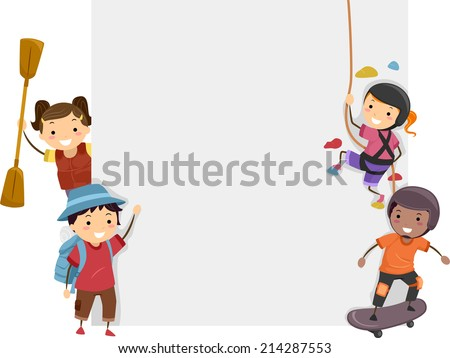 Board Illustration Featuring Kids Dressed in Different Sports Attires - stock vector