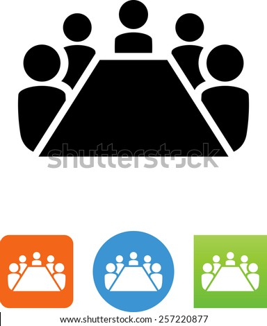 Board room members sitting around a table. Vector icons for video, mobile apps, Web sites and print projects.  - stock vector