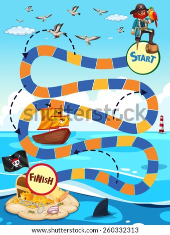 Boardgame template with pirate and treassure - stock vector
