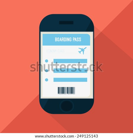Boarding pass on the smart phone screen - stock vector