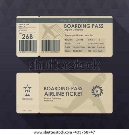 Boarding pass tickets brown paper design. vector illustration. - stock vector