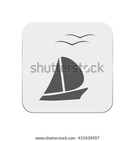 boat and seagull icon - stock vector