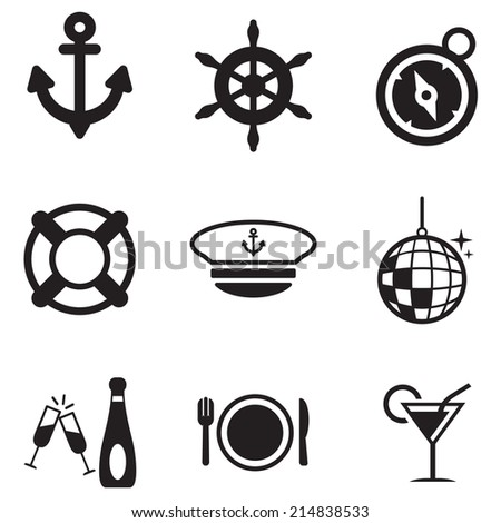 Boat Cruise Icons - stock vector