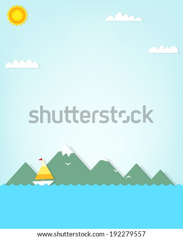 boat on a background of mountains - stock vector