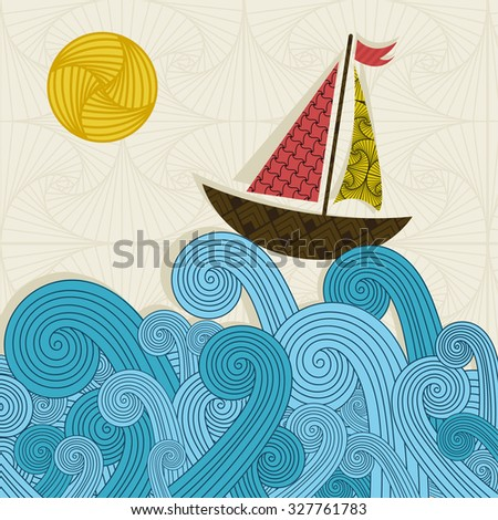 Boat on the waves - stock vector