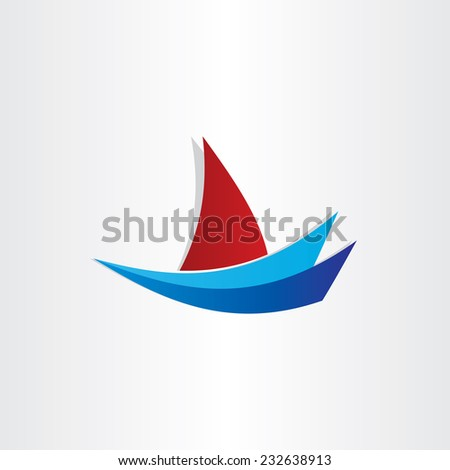 boat on water stylized design  - stock vector