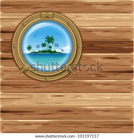 Boat porthole with seascape - stock vector