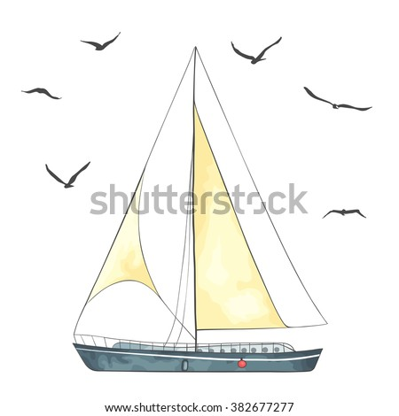 Boat with sails and seagulls made in the vector isolated on white background. Watercolor imitation. Sport yacht, sailboat. - stock vector