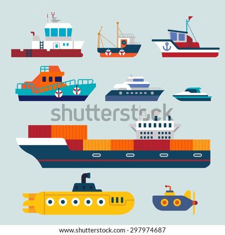 boats and ships  - stock vector