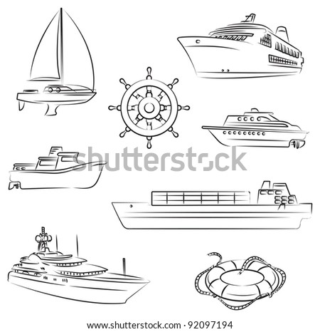 Boats and ships - stock vector