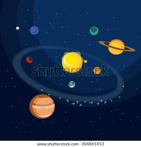 Bodies of Solar System. Vector flat planets and the Sun. - stock vector