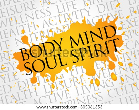 Body Mind Soul Spirit word cloud, health concept - stock vector