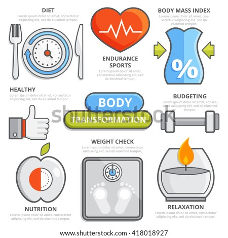 Body transformation fitness flat line concept: healthy lifestyle, diet, body mass index, nutrition, weight check, relaxation, fitness, budgeting. Design elements fitness isolated illustration template - stock vector