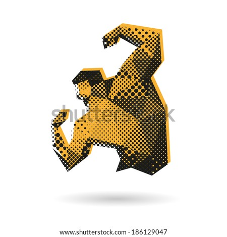 Bodybuilder abstract isolated on a white background, vector illustration - stock vector