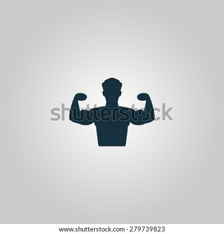 Bodybuilder Fitness Model. Flat web icon or sign isolated on grey background. Collection modern trend concept design style vector illustration symbol - stock vector