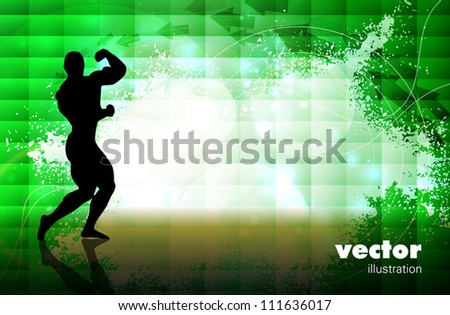 Bodybuilder with abstract in background - stock vector