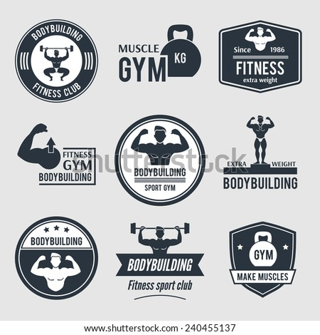 Fitness sport club badges isolated vector illustration stock vector