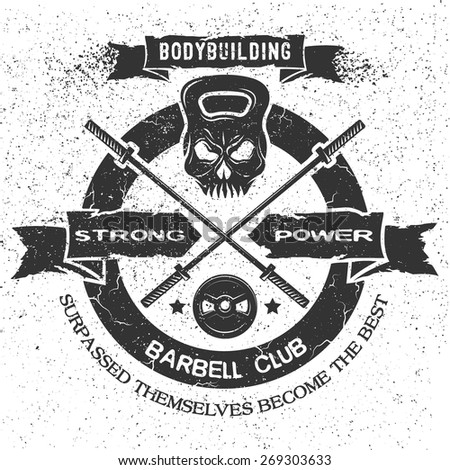 Bodybuilding emblem in vintage style. Isolated background. - stock vector