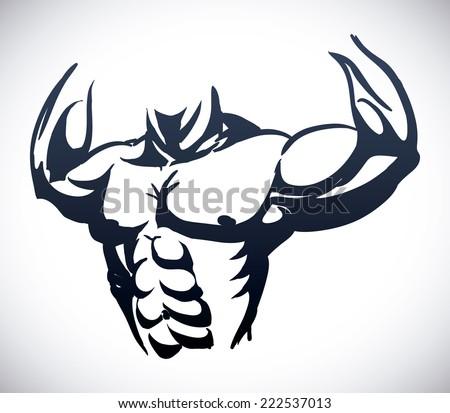 bodybuilding graphic design , vector illustration - stock vector