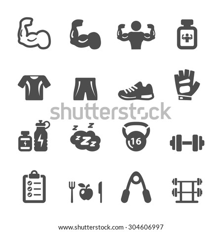 bodybuilding healthy and fitness icon set, vector eps10. - stock vector