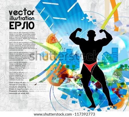 Bodybuilding. Vector illustration - stock vector