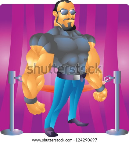 bodyguard bouncer with background - stock vector
