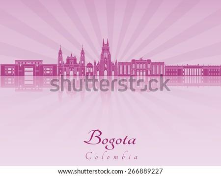Bogota skyline in purple radiant orchid in editable vector file - stock vector