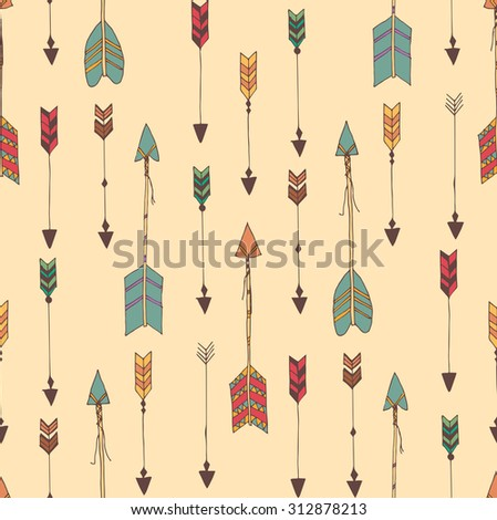 Bohemian hand drawn arrows, seamless pattern, vector illustration - stock vector