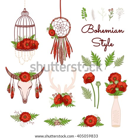 Bohemian style collection. Set of boho elements: floral motifs with poppies, dream catcher, cage, deer antlers, skull cow. Hand drawn vector illustration. Wedding design: greeting cards, invitations. - stock vector