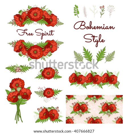 Bohemian style collection. Set of boho floral elements: composition, frame, bouquet, border, seamless pattern. Poppies. Hand drawn vector illustration. Wedding design: greeting cards, invitations, etc - stock vector