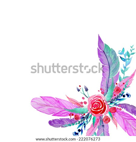 Boho-chic bright background. Isolated combination of feathers, roses, leaves, branches. Hand drawn watercolor frame. - stock vector