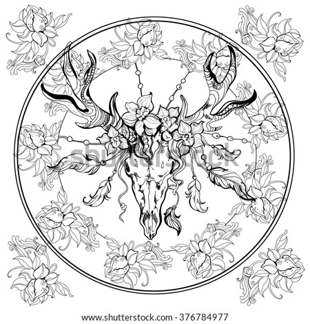 Whitetail Deer Coloring Book Adults Sketch Templates on deer head tattoo