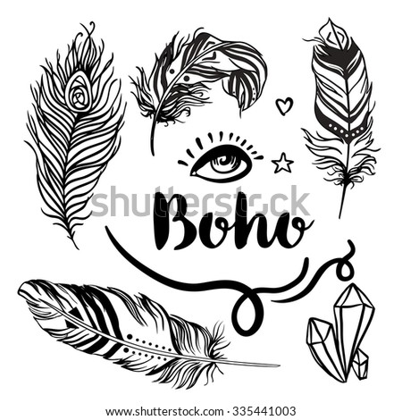 Boho: Set of Ornamental Boho Style Elements. Vector illustration. Tattoo template. Trendy hand drawn tribal symbol collection. Hippie design elements. Coloring book pages for adults. - stock vector