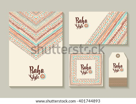 Boho style collection of card, label and tag templates with cute handmade tribal art designs. EPS10 vector. - stock vector