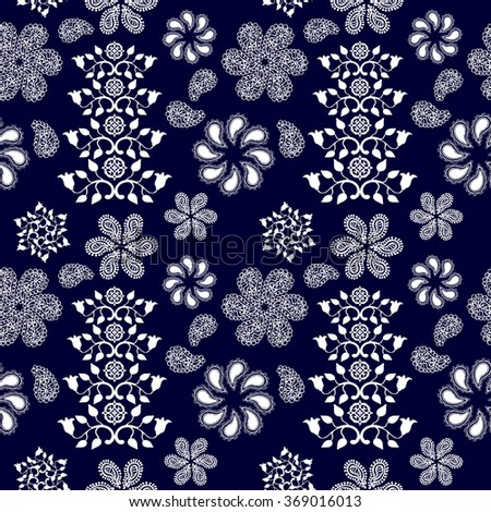 Boho style seamless pattern with floral motifs. Ethnic textile collection. White on dark blue. Backgrounds & textures shop. - stock vector