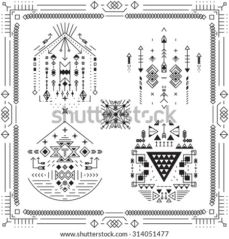Boho tribal ethnic elements. Ornament art decor, symbol ornamental linear. Vector illustration - stock vector